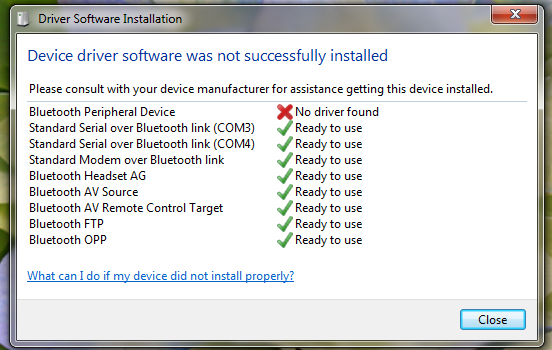 no drivers are installed for this device bluetooth