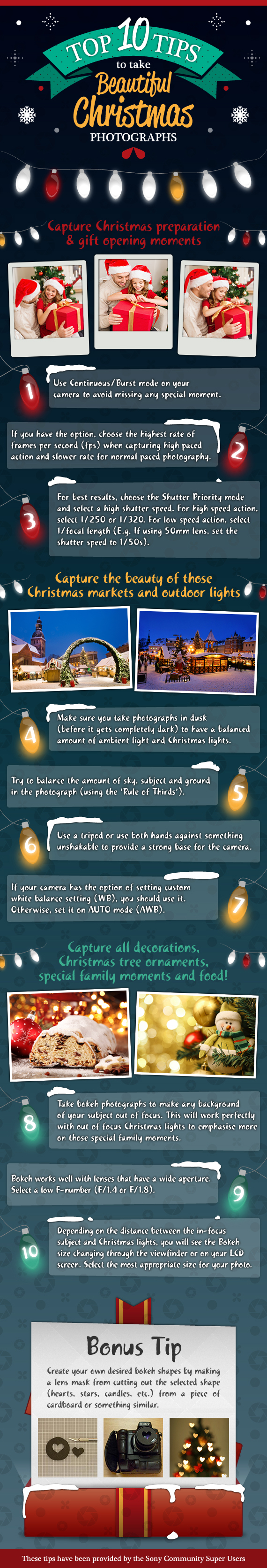 Top 10 tips to take beautiful Christmas photographs - Infographic